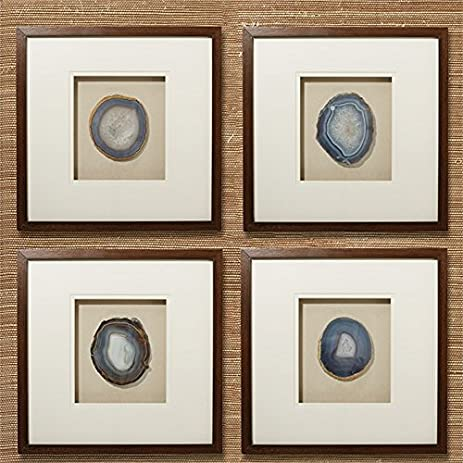 Amazon.com: Tozai Set of 4 Genuine Geode/Agate Wall Art in Brown ...