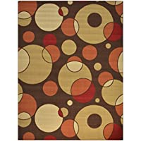 Rubber Collection Circles Brown Printed Slip Resistant Rubber Back Latex Contemporary Modern Area Rugs and Runners (1008) (5x7 (5x66))