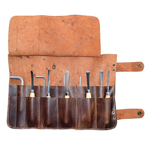 Hide & Drink, Snap Tool Roll Hammer & Pliers Design/Barber Bag/Tool Pouch/Professional Tool Case, Handmade Includes 101 Year Warranty :: Bourbon Brown ()