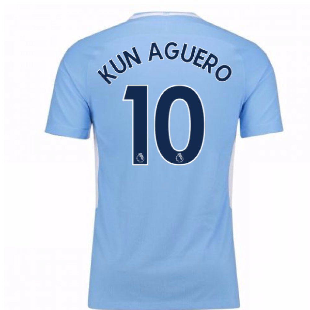 2017-18 Man City Home Football Soccer T-Shirt Trikot (Sergio Aguero 10)