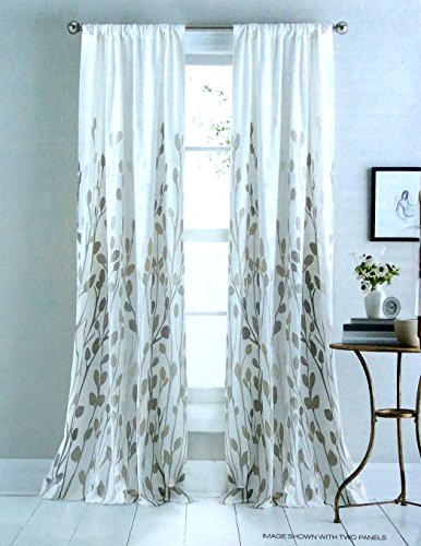 Amazon DKNY Carroll Gardens Floral Road Pocket Curtains 100 Cotton 50 By 84 Inch Set Of 2 Window Panels White Beige Tan Taupe Flowers Branches
