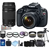 Canon EOS Rebel T5 / EOS 1200D / EOS Kiss X70 DSLR Camera with EF-S 18-55mm IS II Lens + Canon EF 75-300mm f/4-5.6 III Lens + 22PC Bundle 32GB Accessory Kit