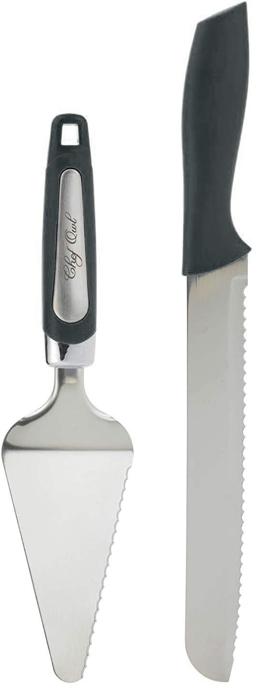 Professional Pie Server Set - 100% STAINLESS STEEL - Set Includes Cutting Spatula with Serving Knife - Perfect for Serving Cake, Pizza, Pies, Dessert, Lasagna, and More - Black Handle