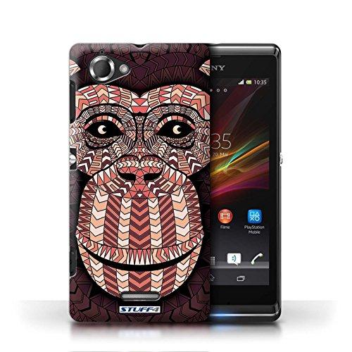 Etui / Coque pour Sony Xperia L/C2105 / Singe-Rouge conception / Collection de Motif Animaux Aztec