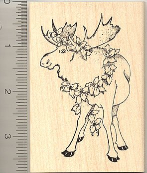 Christmas Moose Rubber Stamp - Wood Mounted
