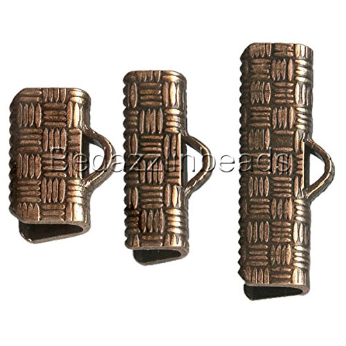 Plated Crimp Ends (10 Antique Copper Plated Flat Ribbon Crimp End Findings with Teeth & Texture (10mm (3/8 inch) Long))