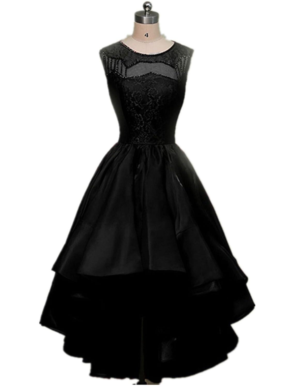 AIJIAYI Women's Scoop Beaded Asymmetrical Evening Party Cocktail Dresses Black US Size 10