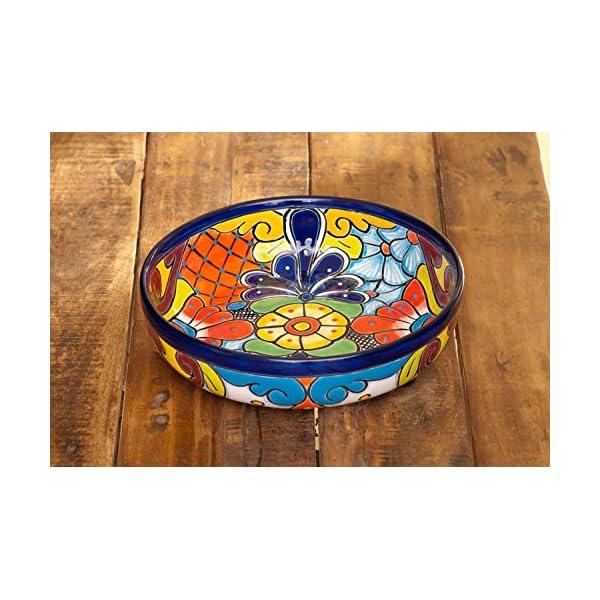 Jayde-N-Grey-Talavera-Pottery-Hand-Painted-Ceramic-Large-Serving-Bowl-Salad-Bowl-Chip-Bowl-Serving-Platter-Colorful-Cobalt