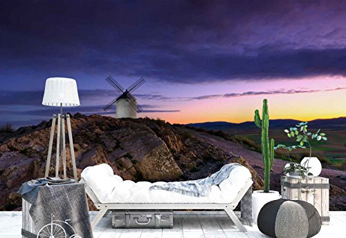 Photo wallpaper wall mural - Single Windmill Rocks Sunset - Theme Travel & Maps - L - 8ft 4in x 6ft (WxH) - 2 Pieces - Printed on 130gsm Non-Woven Paper - 1X-964059V4 by Fotowalls Photo Wallpaper Murals