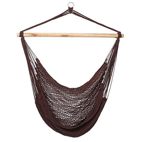 Finether Mesh Hammock Chair Swing, Netted Swing Chair Swing Seat Rope Hanging Chair for Any Indoor or Outdoor Spaces, 300 lbs Weight Capacity, Dark Brown