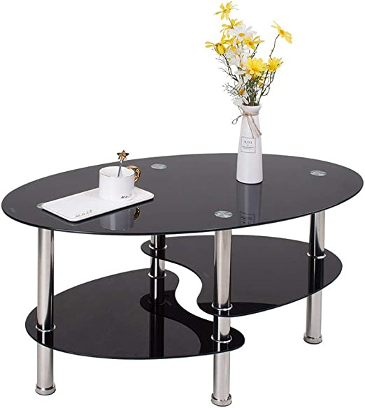 Mesa de café Ovalada de Cristal Negro, Mesa de cóctel con 3 ...