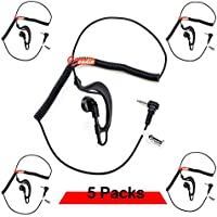Zeadio ZP-AR128 RECEIVER/LISTEN ONLY G Shape Earpiece with 2.5mm Connector for Ham Radio, Two-Way Radios, Transceivers and Radio Speaker Mics Jacks (Pack of 5)