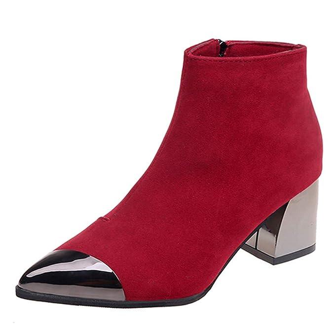 ❤ Botas Cortas de Las Mujeres del Dedo del pie Puntiagudo, Zapatos de cuña de Gamuza de Moda de Las Botas de Boots Arranque de la Cremallera otoño ...