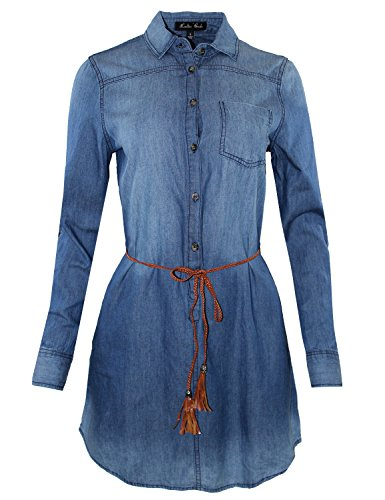 Belted Front Shirt Dress Button - 3/4 Roll Up Sleeve Denim Belted Shirt Dress Blue L Size