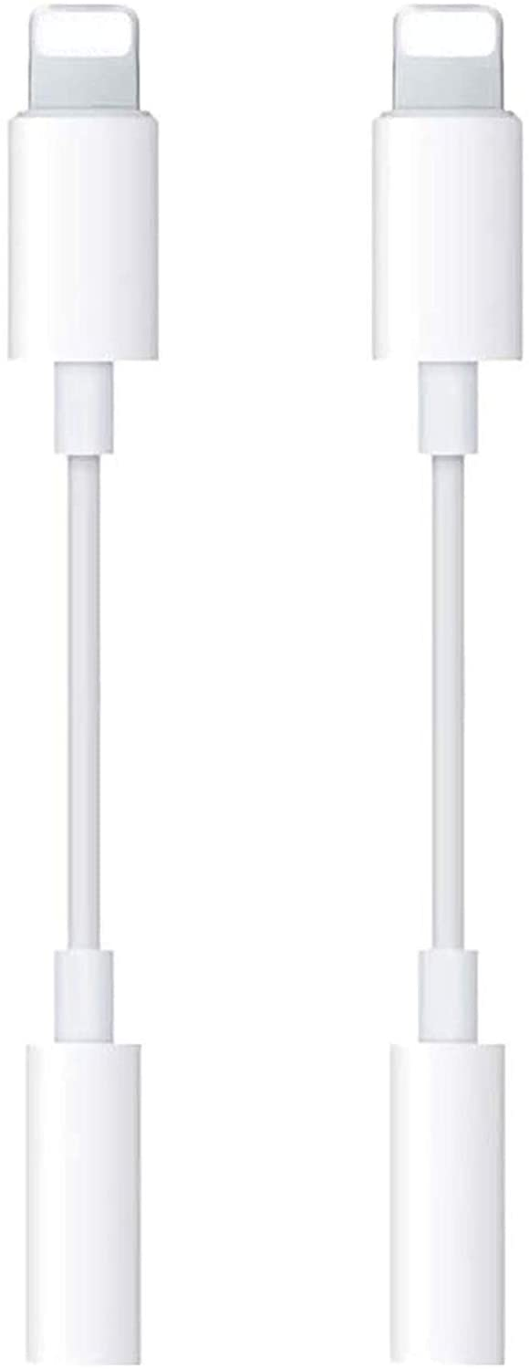 [Apple MFi Certified] 2 Pack Lightning to 3.5 mm Headphone Jack Adapter iPhone 3.5mm Jack Aux Dongle Cable Converter Compatible with iPhone 12 11 11 Pro XR XS X 8 7 iPad iPod Support All iOS System