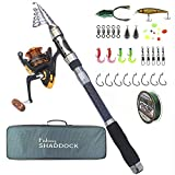 Fishing Rod and Reel Combo – Telescopic Fishing Pole Spinning Reels Fishing Gear Carrier Bag Bass Fishing Rods Combos for Saltwater Freshwater and Travel Fishing