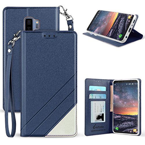 for Galaxy S9 Plus Case, Infolio Faux Leather 2 Tone Flip [Wallet Case] with [ Invisible Magnetic Closure] for Galaxy S9+ - Dark Blue (T Mobile Credit Check Hard Or Soft)