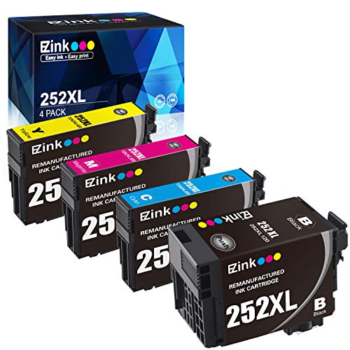 E-Z Ink (TM) Remanufactured Ink Cartridge Replacement for Epson 252XL 252 XL T252 T252XL120 to use with Workforce WF-7110 WF-7710 WF-7720 WF-3640 WF-3620 (1 Black, 1 Cyan, 1 Magenta, 1 Yellow) 4 Pack