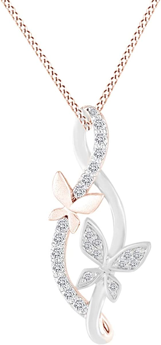AFFY White Natural Diamond Bear Infinity Pendant Necklace in 14k Gold Over Sterling Silver 0.1 Ct