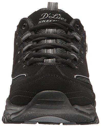 Skechers Sport Donna Dlites Memory Foam Sneaker Allacciata Nero