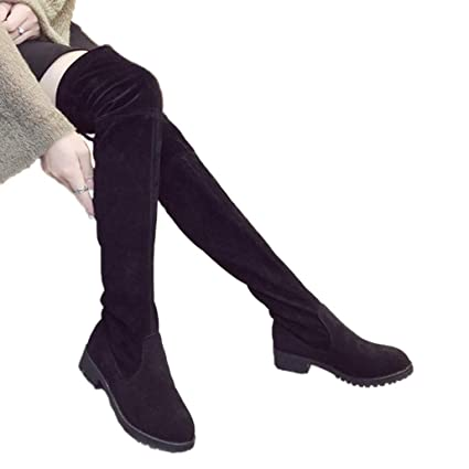 9dd9223415a1 Amazon.com: ODOKAY Women Long Boot Spring Winter Ladies Fashion Flat Bottom  Shoes Over The Knee Thigh High Suede Boots: Sports & Outdoors