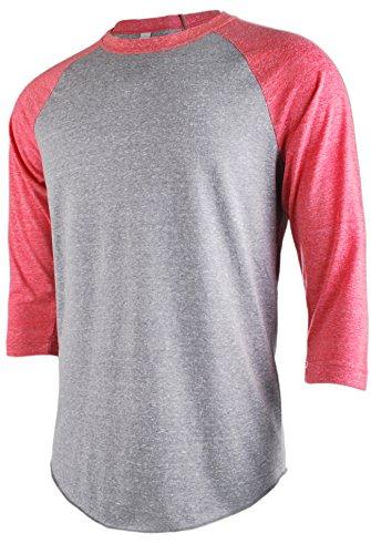 TL Men's Basic 3/4 Sleeve Baseball Top Fitted Tri-blend Raglan T-Shirt LTGREY_RED XL
