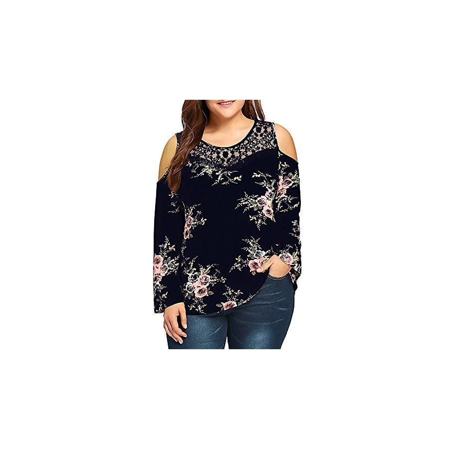 STORTO Womens Plus Size Lace Cold Shoulder Tops Floral Printed Long Sleeve Loose Blouse Shirts