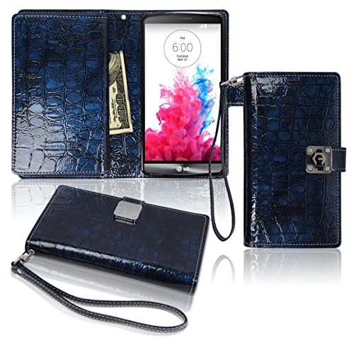 G3 Wallet Case, Glossy [ 9 Pockets ] for 6 ID / Credit Card 3 Cash Slots, Power Magnetic Clip With Wrist Strap For LG G3 Leather Cover Flip Diary (Blue)
