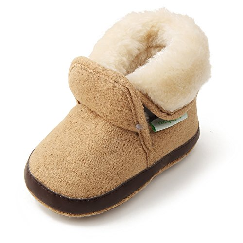 Delebao Baby Classic Soft Sole Winter Warm Snow Boots Prewalker Crib Shoes (0-6 Months, Khaki 2)