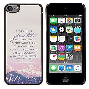 EJOOY---Cubierta de la caja de protección para la piel dura ** Apple iPod Touch 6 6th Touch6 ** --Montaña Fe Dios Jesucristo Biblia