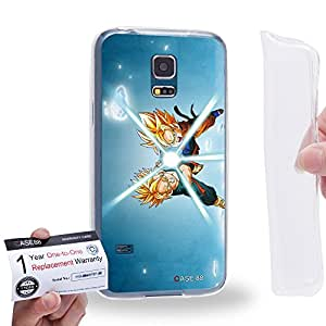 Case88 [Samsung Galaxy S5 Mini] Gel TPU Carcasa/Funda & Tarjeta de garantía - Dragon Ball Z GT AF Son Goku Super Saiyan Goten & Trunks Kamehameha 0599