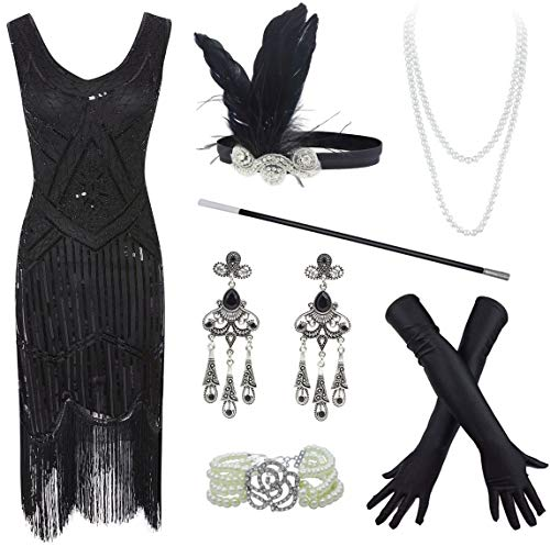 Great Gatsby Womens Costume (20s Flapper Gatsby Sequin Beaded Evening Cocktail Dress with Accessories Set (2X-Large,)
