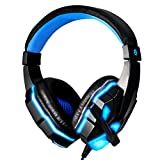 Pevor Gaming E-sport Headset with Mic for PC PS4 Xbox One, Bass Over-Ear Game Headphones with Mic LED Lights and Volume Control for Laptop Mac iPad Computer (black blue)