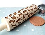 Embossing rolling pin, Cats Design, Cookies decorating wooden rolling pin