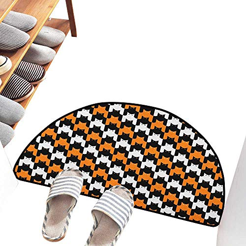 Axbkl Washable Doormat Halloween Digital Style Catstooth Pattern Pixel Spooky Harvest Fashion Illustration Quick and Easy to Clean W31 xL20 Orange Black White]()