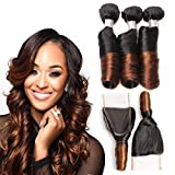 Allove Hair 8A Brazilian 2 Tone Ombre Color Spring Curl Hair 3 Bundles with Closure(12 14 16 +12) 4X4 Ombre Free Part Lace Closure with Virgin Remy Spring Curl Weave Hair Bundles Extensions