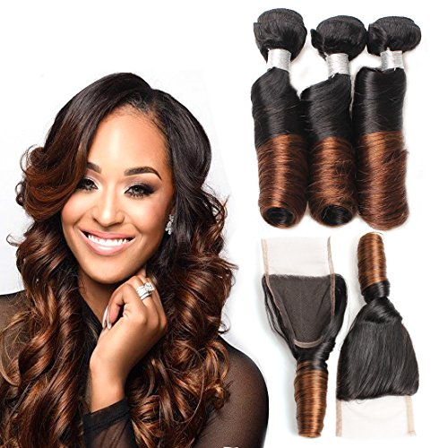 Allove Hair 8A Brazilian 2 Tone Ombre Color Spring Curl Hair 3 Bundles with Closure(12 14 16 +12) 4X4 Ombre Free Part Lace Closure with Virgin Remy Spring Curl Weave Hair Bundles Extensions by Allove Hair