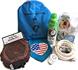 DOG BATH SET. This Bath Kit For Dogs Comes With A Rinse Ace Shower Sprayer, Tropiclean Dog Shampoo,Dog Grooming Glove, Dog Bandana, A Bag To Store All The Dog Bath Products