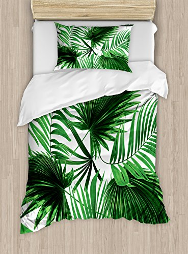 Most Realistic Christmas Tree - Ambesonne Palm Leaf Duvet Cover Set Twin Size, Realistic Vivid Leaves of Palm Tree Growth Ecology Lush Botany Themed Print, Decorative 2 Piece Bedding Set with 1 Pillow Sham, Fern Green White