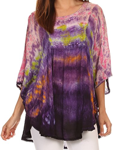 Long Wide Multi Colored Tie Dye Sequin Embroidered Poncho Top Blouse - Pink - OS (Hippie Tie Dye Shirts)