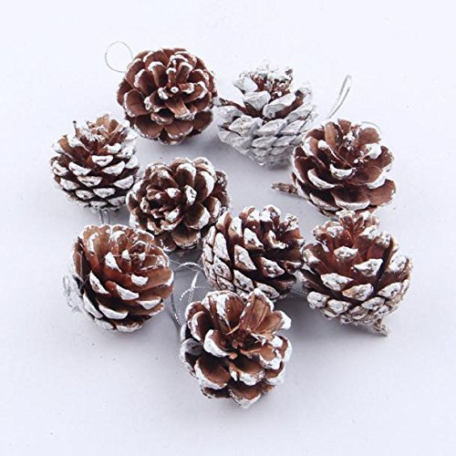 Christmas Tree Decorations - 9pcs Christmas Pine Cones, Misaky Bauble Xmas Tree Party Hanging Decoration Ornament