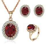 Yoursfs Kate Middleton Style Jewelry Sets 18k Rose Gold Plated Ruby Pendant Necklace and Stud Earring and Rings (9)
