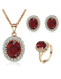 Yoursfs 18k Rose Gold Plated Red Gemstone Ruby Earring and Ring and Necklace Set Best Gift