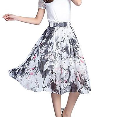Chic Queen Women'sChiffon Floral Elastic High Waist Pleated Skater Knee Length Skirt