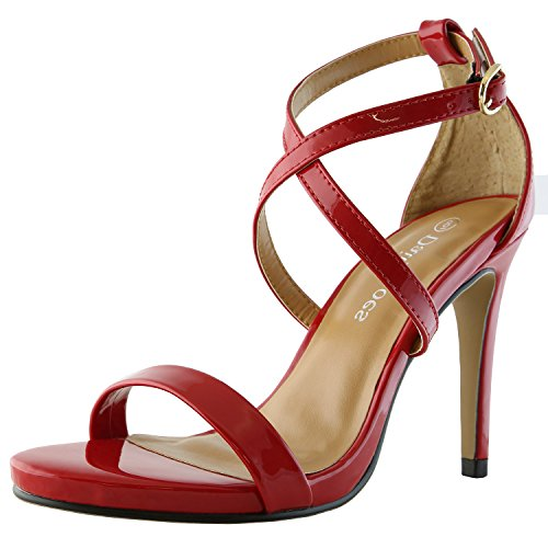 High Heel Pointy Metallic Pumps - DailyShoes Women's Platform High Heel Prom Sandal Open Toe Ankle Buckle Cross Strap Pump Evening Dress Casual Party Shoes, Red PT, 5 B(M) US