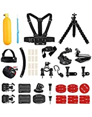 AKASO Accessories Kit for GoPro Hero/AKASO Vemont Victure APEMAN VicTsing WIMIUS ODRVM Bopower Action Camera, Accessory Bundle with Chest Strap/Suction Cup/Bike Mount/Anti-fog Inserts