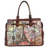 Nicole Lee Women's Vintage European Print [Brown] Overnighter Padded Laptop Compartment Travel Shoulder Bag, Vintage European Stamp, One Size