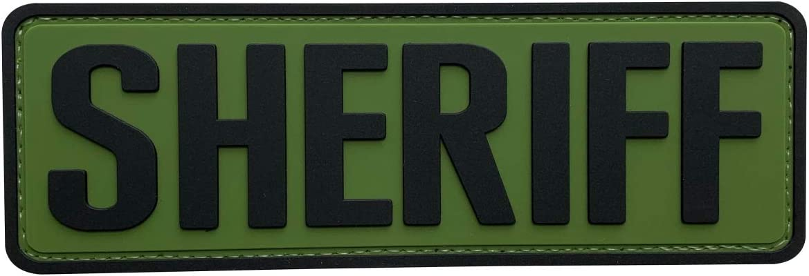 uuKen Big PVC Rubber Sheriff Patch 2x6 inchesOD Green with Hook Back for Tactical Morale Vest Police Officer Law Enforcement or Combat Plate Carrier