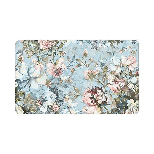InterestPrint Antique Rose Flowers Anti-Slip Doormats Entrance Mat Floor Rug Indoor/Outdoor/Front Door Mats Home Decor, Vintage Watercolor Floral Rubber Backing 30