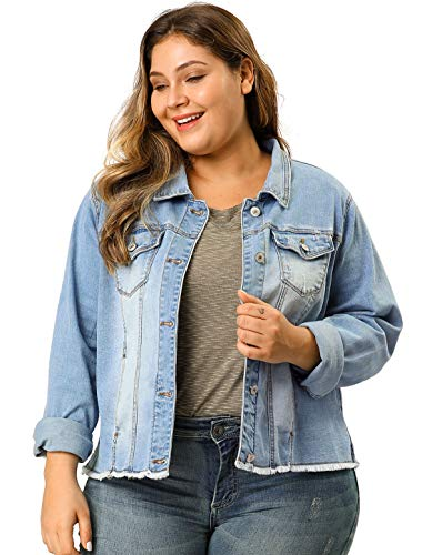 Agnes Orinda Women's Plus Size Classic Washed Front Frayed Denim Jacket Light Blue 2X ()